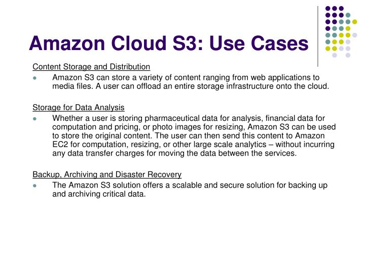 Amazon Cloud S3: Use Cases