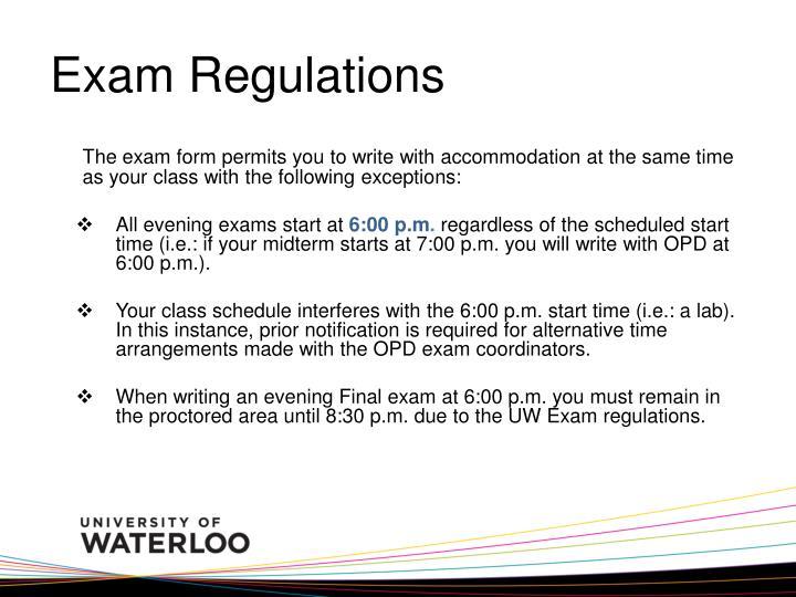 Exam Regulations