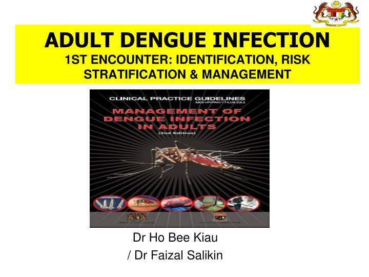Adult dengue infection 1st encounter identification risk stratification management