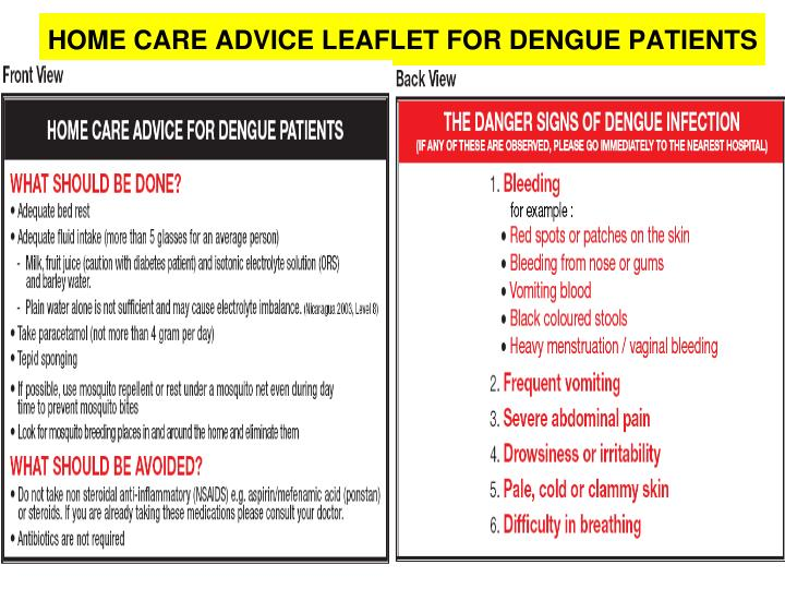 HOME CARE ADVICE LEAFLET FOR DENGUE PATIENTS