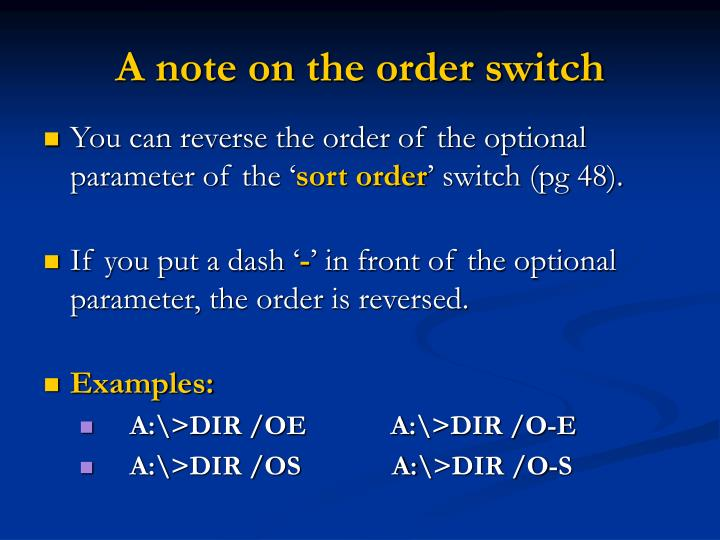 A note on the order switch
