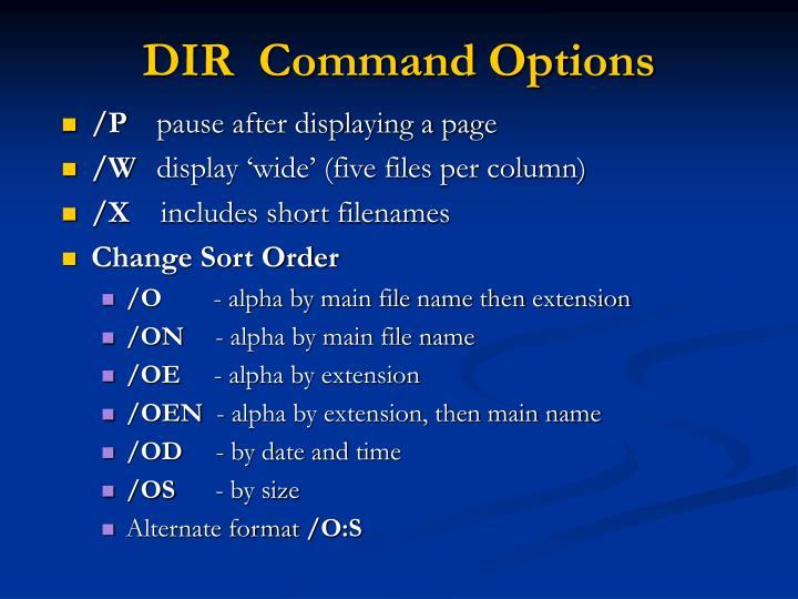DIR  Command Options