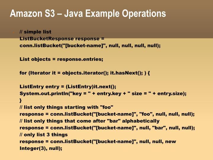 Amazon S3 – Java Example Operations