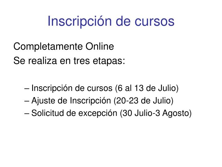 Inscripci n de cursos
