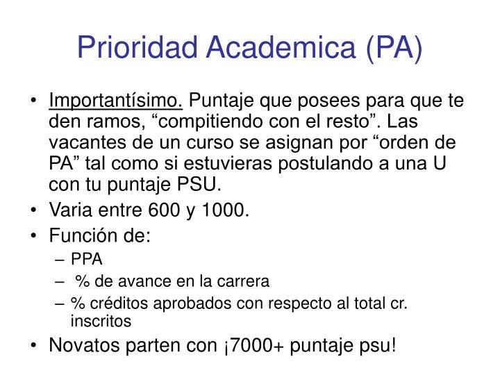 Prioridad Academica (PA)