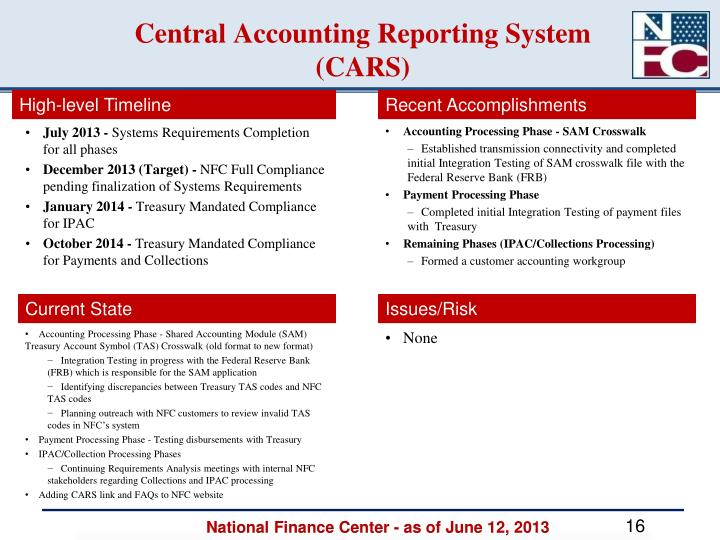 Central Accounting Reporting System