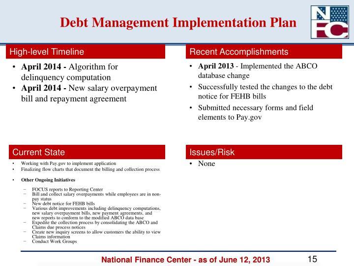 Debt Management Implementation Plan