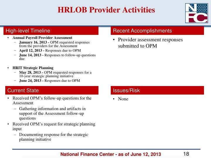 HRLOB Provider Activities
