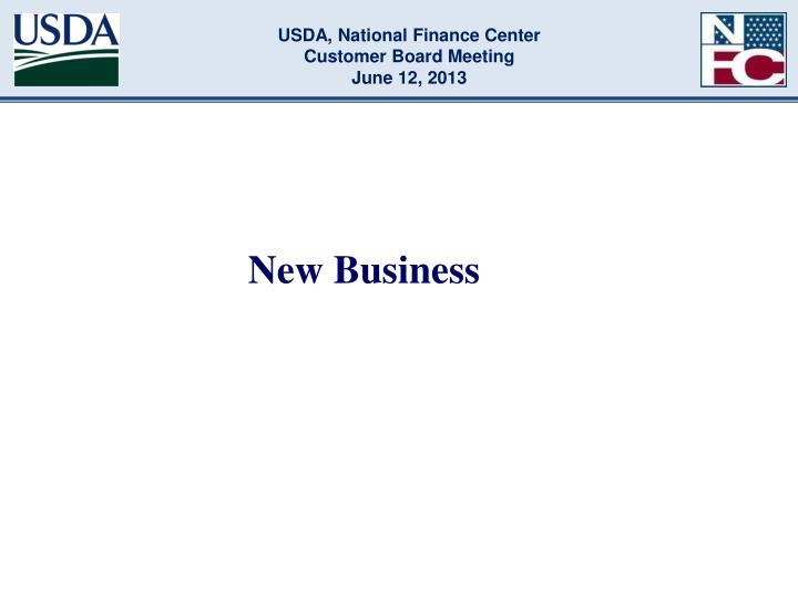 USDA, National Finance Center