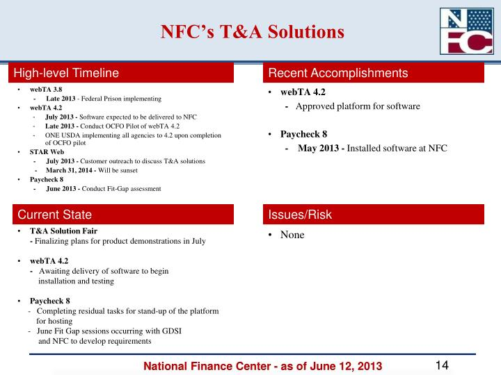 NFC's T&A Solutions