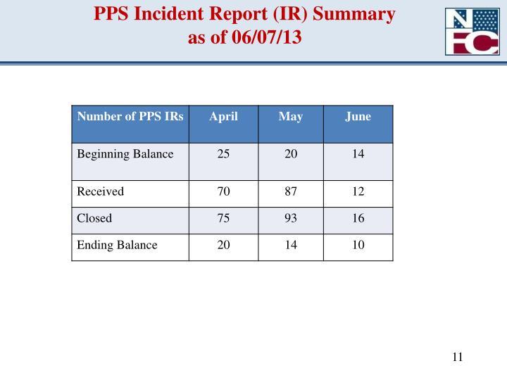 PPS Incident Report (IR) Summary