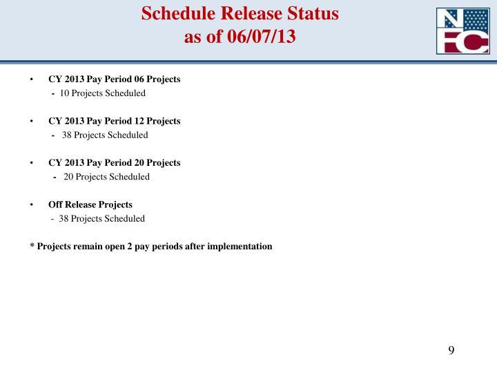 Schedule Release Status