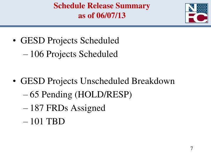 Schedule Release Summary