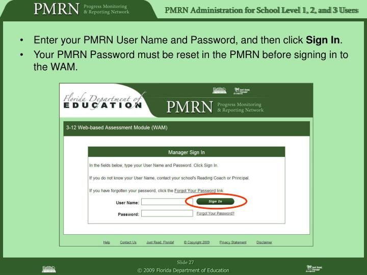 Enter your PMRN User Name and Password, and then click