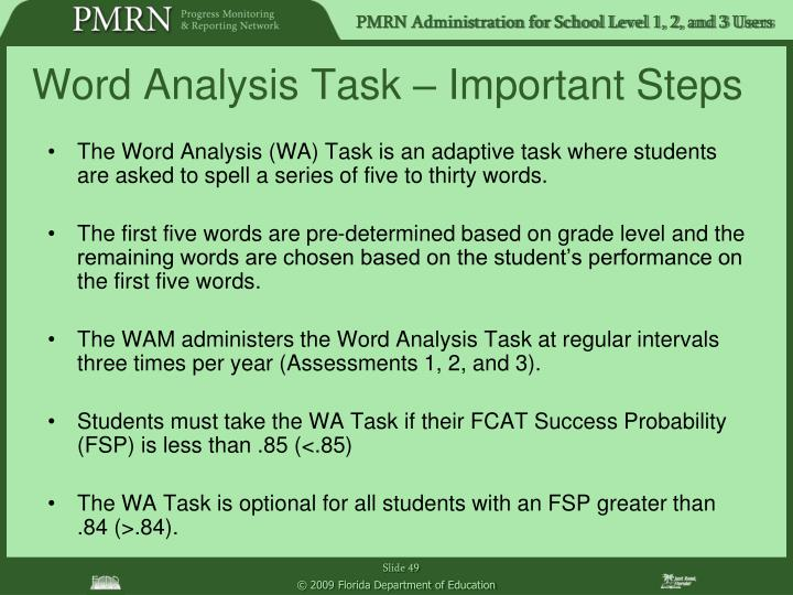 Word Analysis Task – Important Steps
