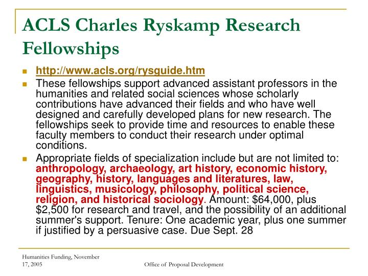 ACLS Charles Ryskamp Research Fellowships