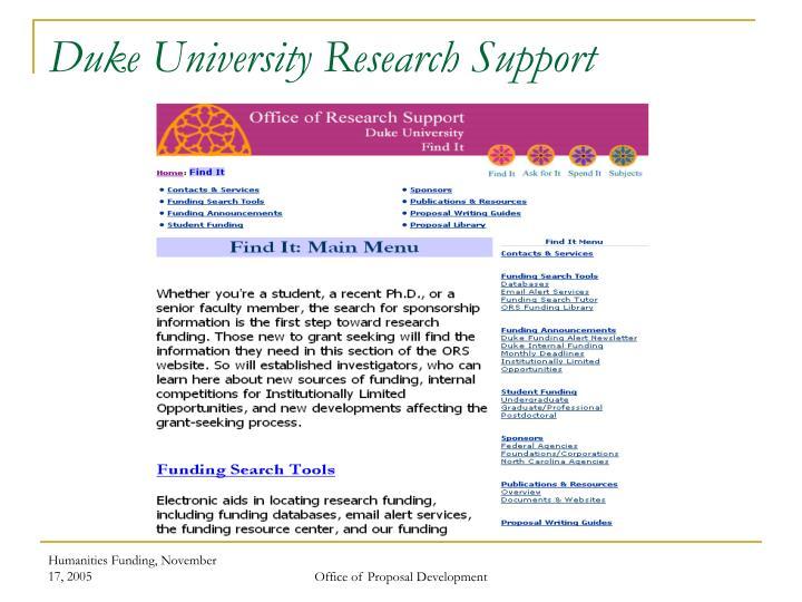 Duke University Research Support