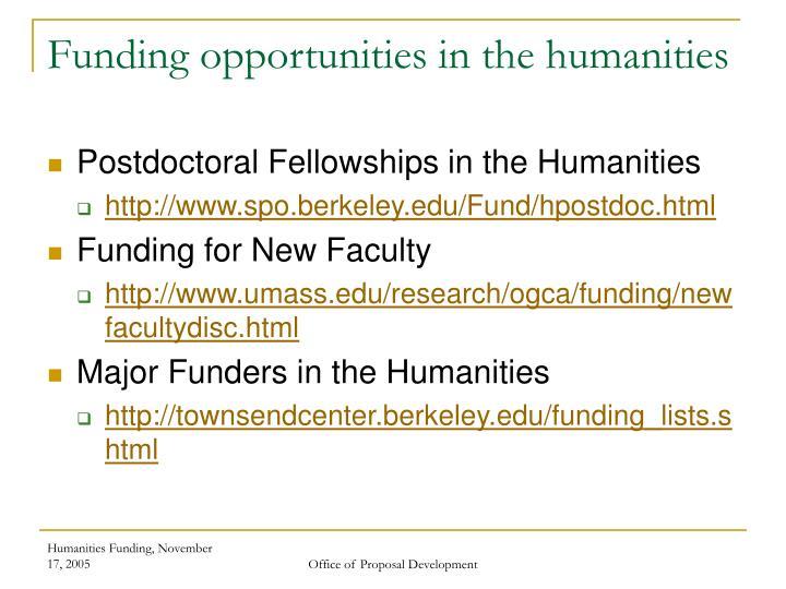 Funding opportunities in the humanities