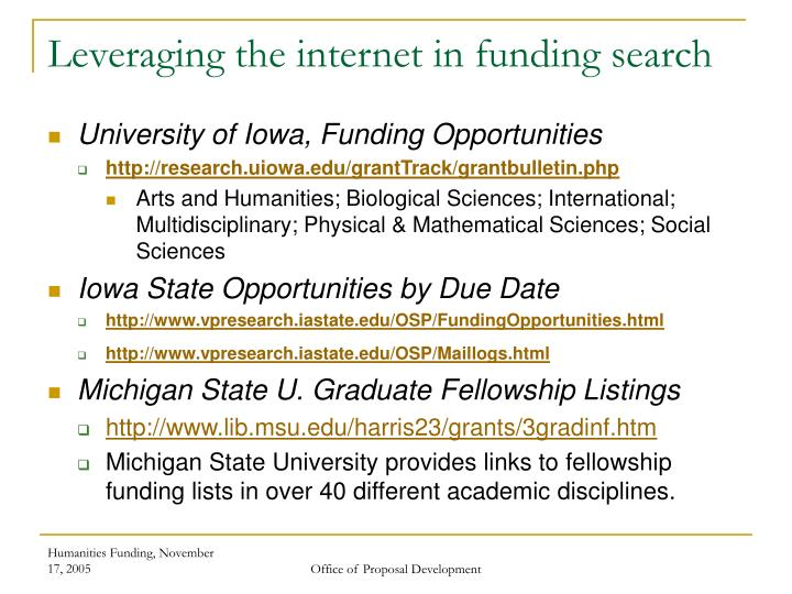 Leveraging the internet in funding search