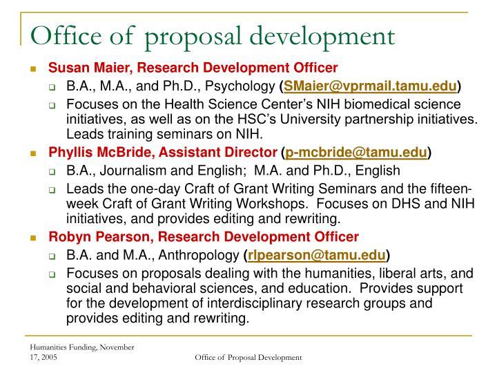 Office of proposal development