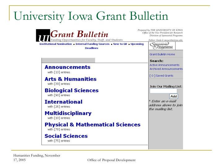 University Iowa Grant Bulletin