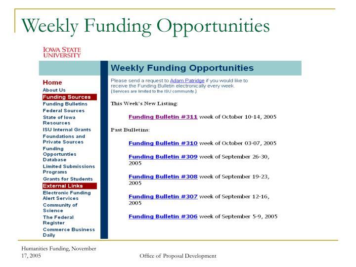 Weekly Funding Opportunities
