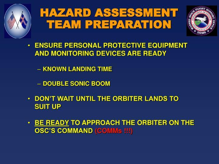 HAZARD ASSESSMENT TEAM PREPARATION