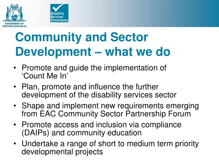 Community and Sector Development – what we do