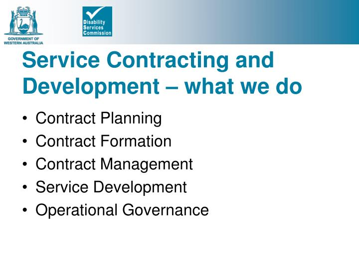 Service Contracting and Development – what we do