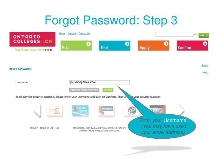 Forgot Password: Step 3