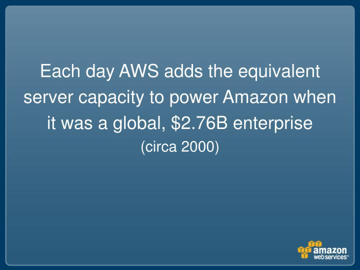 Each day AWS adds the equivalent server capacity to power Amazon when it was a global, $2.76B enterprise