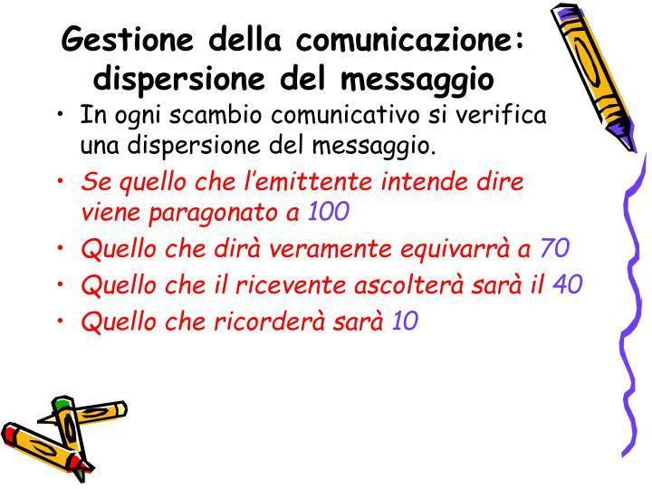 Gestione della comunicazione: dispersione del messaggio