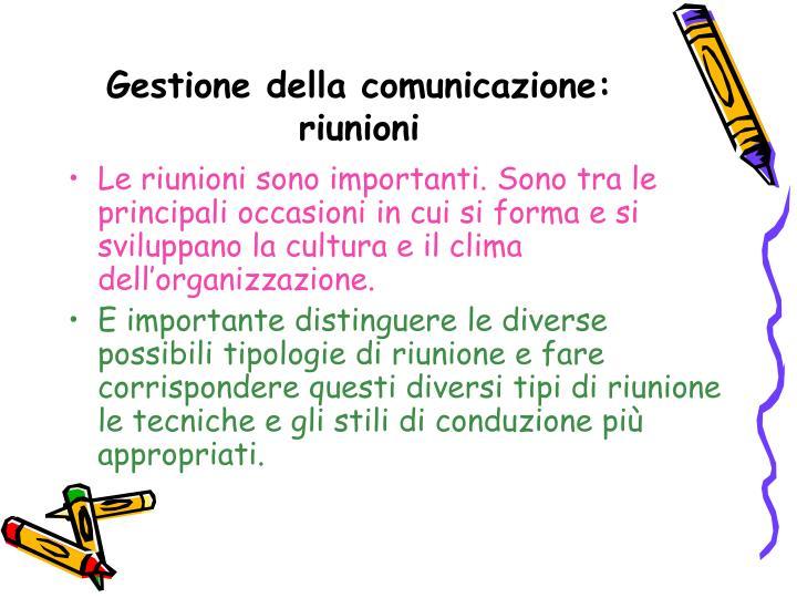 Gestione della comunicazione: riunioni
