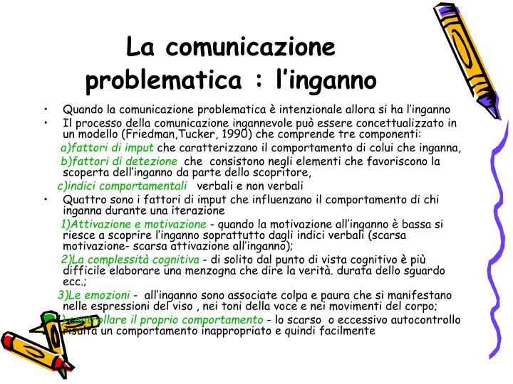 La comunicazione problematica : l'inganno