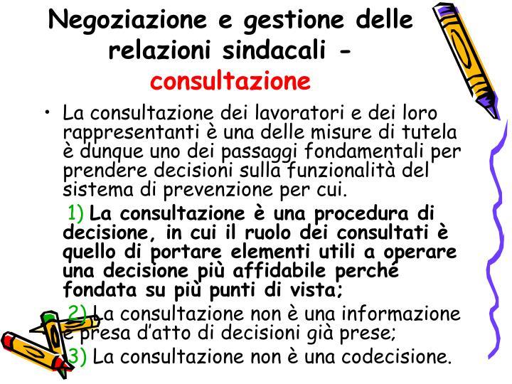 Negoziazione e gestione delle relazioni sindacali -
