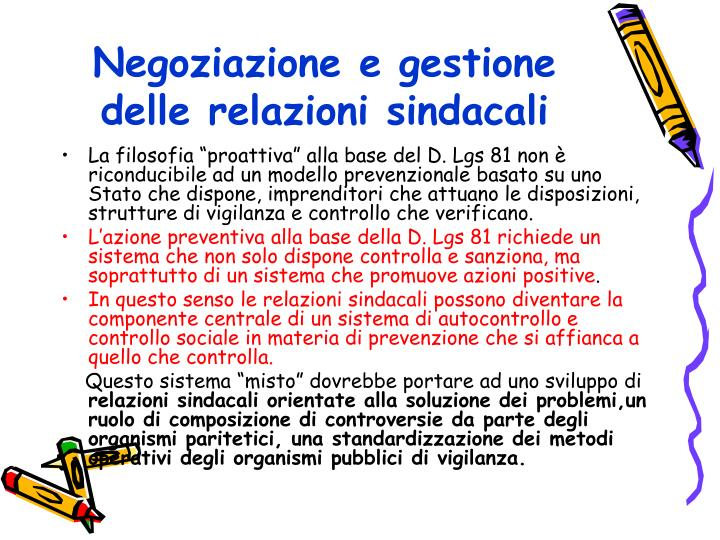 Negoziazione e gestione delle relazioni sindacali
