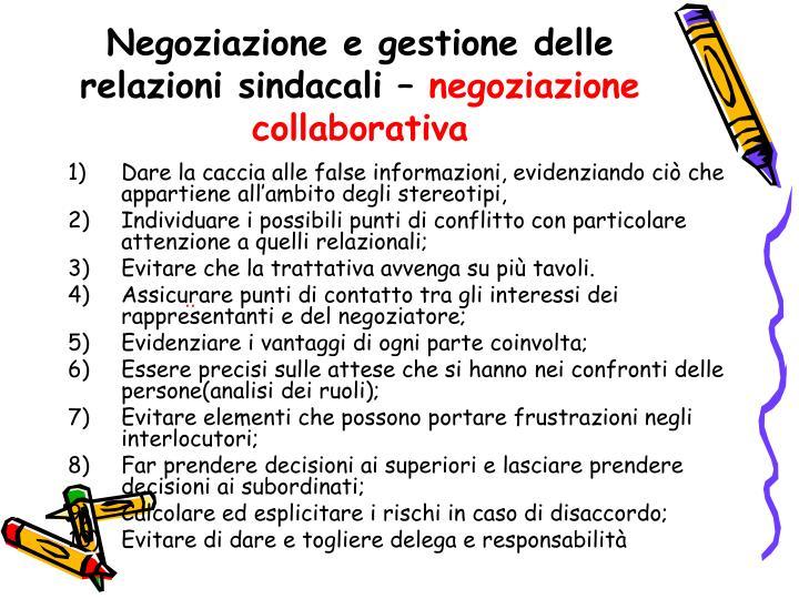 Negoziazione e gestione delle relazioni sindacali –