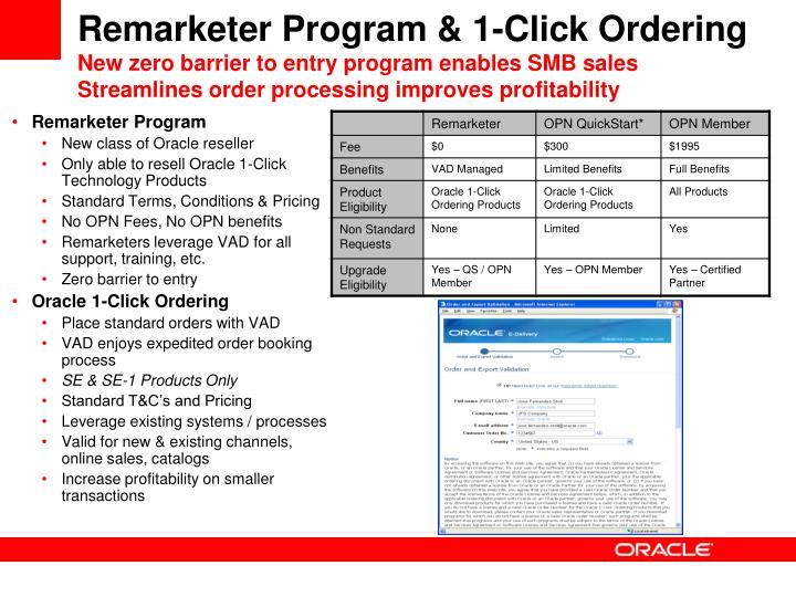Remarketer Program & 1-Click Ordering