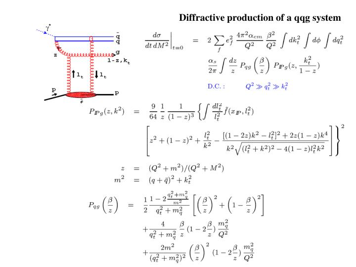 Diffractive production of a qqg system