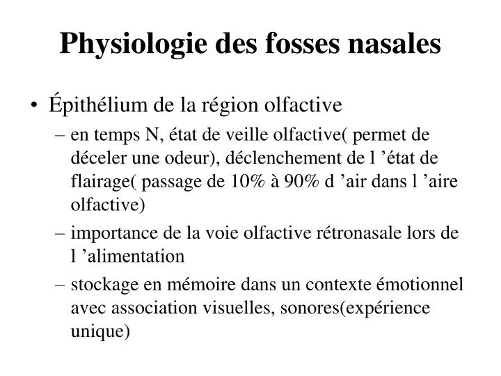 Physiologie des fosses nasales