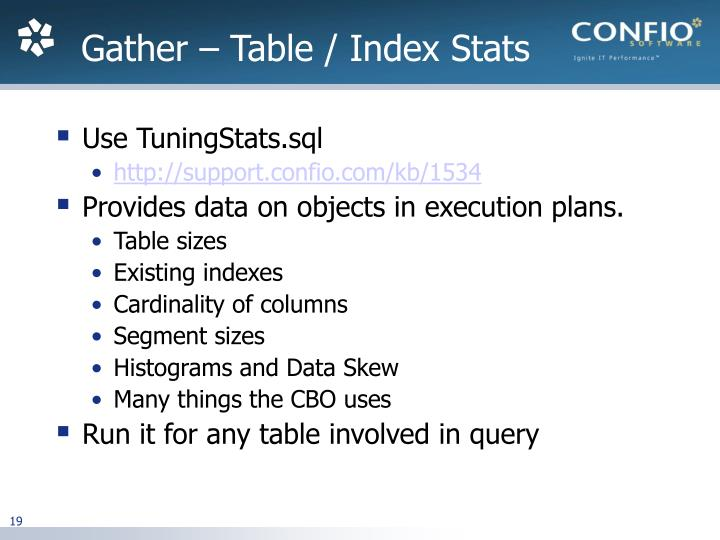 Gather – Table / Index Stats