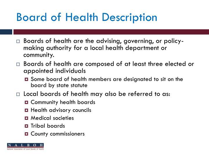 Board of Health Description