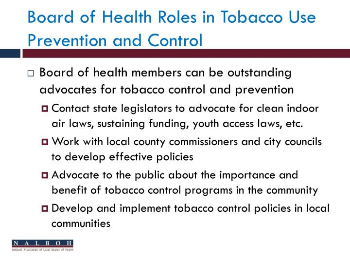 Board of Health Roles in Tobacco Use Prevention and Control