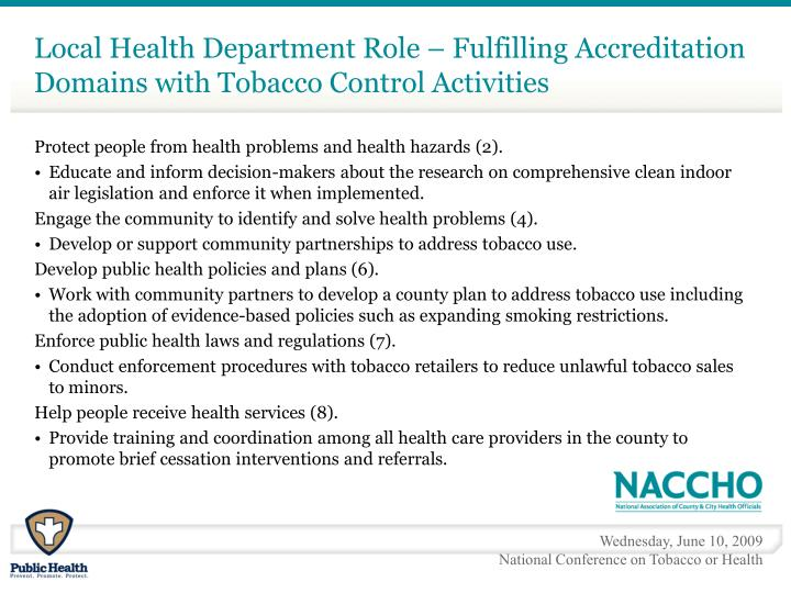Local Health Department Role – Fulfilling Accreditation Domains with Tobacco Control Activities
