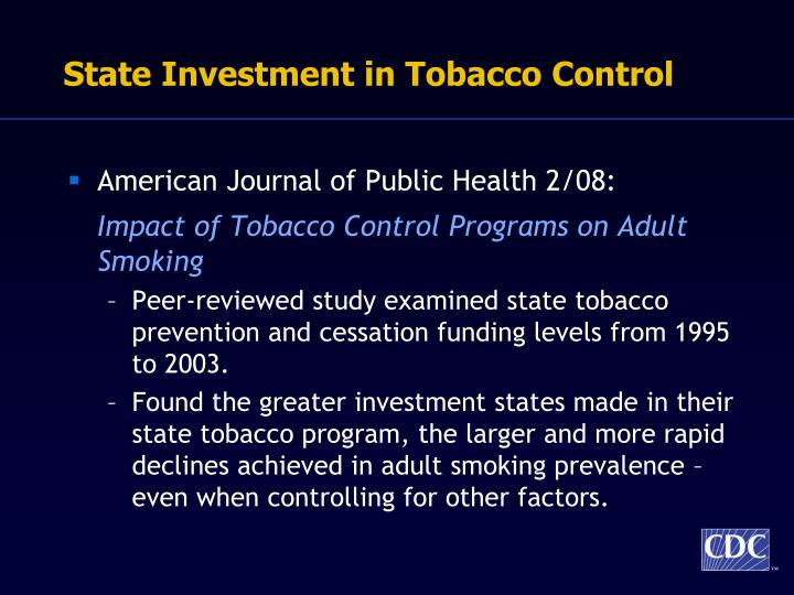 State Investment in Tobacco Control