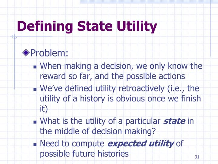 Defining State Utility