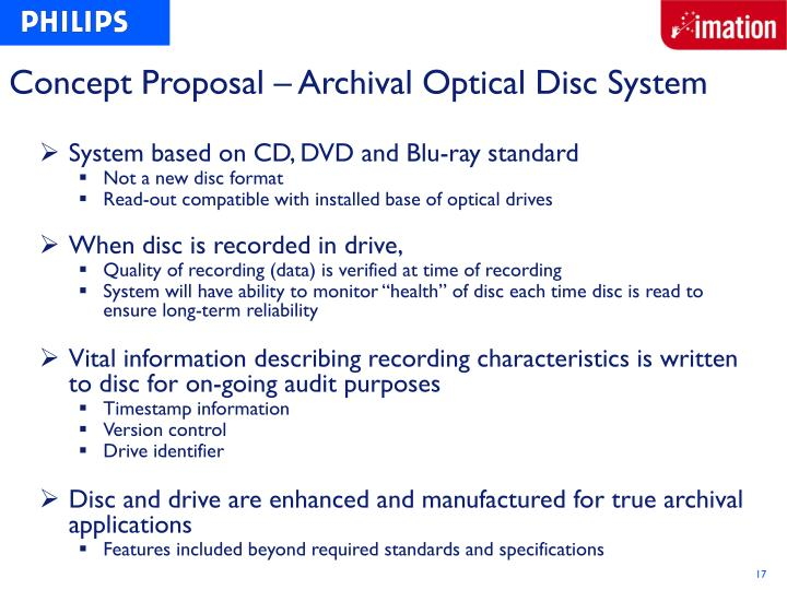 Concept Proposal – Archival Optical Disc System