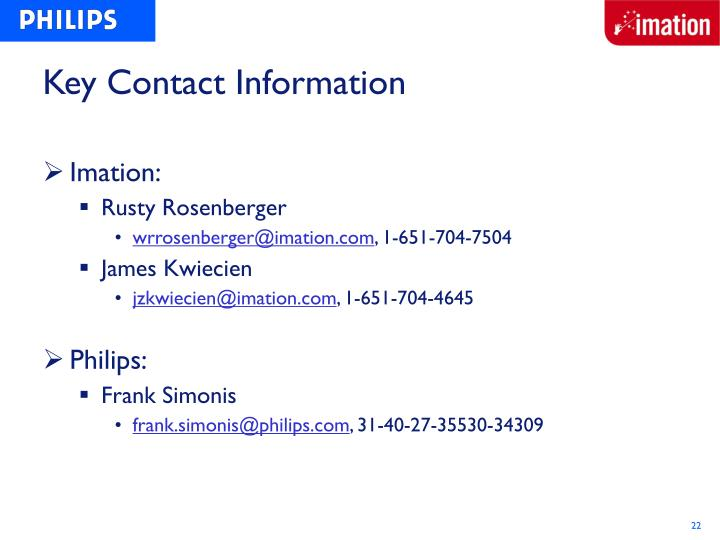 Key Contact Information