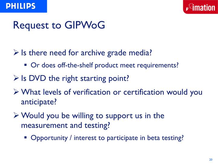 Request to GIPWoG