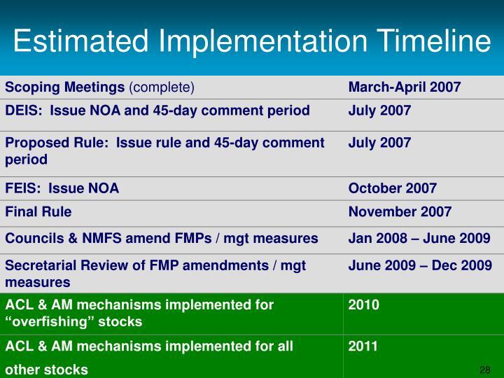 Estimated Implementation Timeline